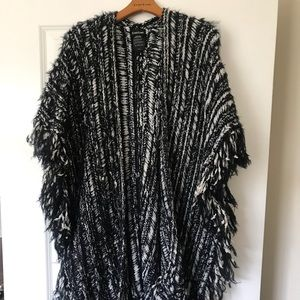 Black and White Knitted Bebe Poncho